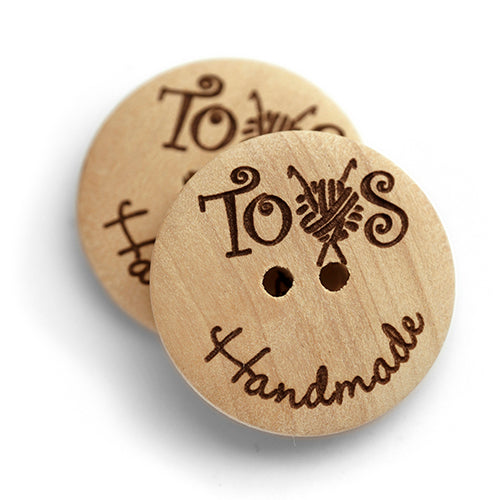 25mm wood button engraving