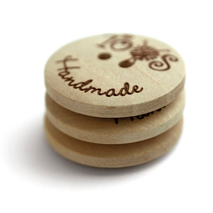 25mm Personalized round convex wooden buttons 2 holes 50 pcs or 100 pcs
