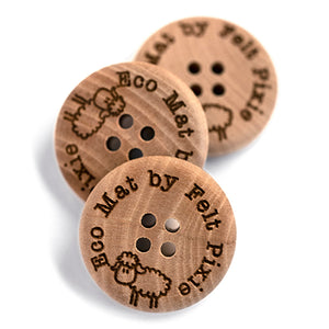 25mm Personalized round CONVEX wooden buttons 4 holes 50 pcs or 100 pcs