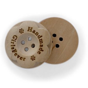 25mm Round flower shaped wooden buttons 4 holes with personalization text included