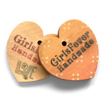 Load image into Gallery viewer, 29mm Heart shaped wooden hang labels personalized with your logo in colors 100 pcs
