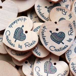 29mm Heart shaped wooden hang labels personalized with your logo in colors 100 pcs