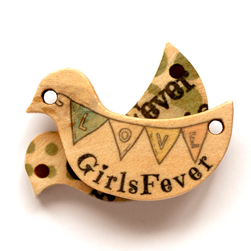 Personalized wooden labels bird shaped with 2 holes including text or logo printing