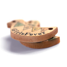 Load image into Gallery viewer, Personalized wooden labels bird shaped with 2 holes including text or logo printing