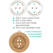 Load image into Gallery viewer, 30mm Round concave Camillia wooden buttons with personalization text included