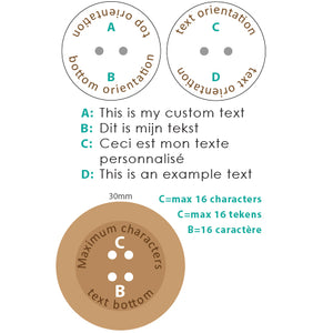 30mm Round concave Camillia wooden buttons with personalization text included
