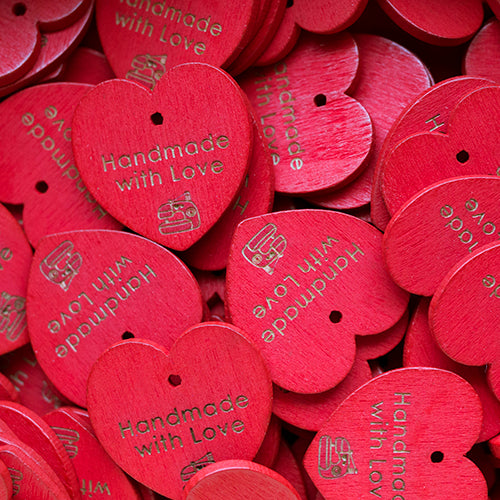 29mm Red wooden heart shaped hangers with custom personalization text 100 pcs
