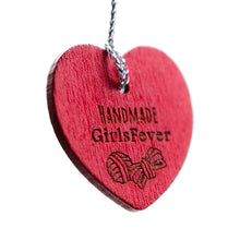 Load image into Gallery viewer, 29mm Red wooden heart shaped hangers with custom personalization text 100 pcs