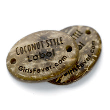 Load image into Gallery viewer, Personalized Oval coconut garment or handbag labels 34x25mm 2 holes