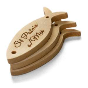 Personalized wooden labels fish shaped with 2 holes including text or logo printing 100 pcs