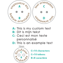 Load image into Gallery viewer, 15mm Beech wooden round buttons with personalization text