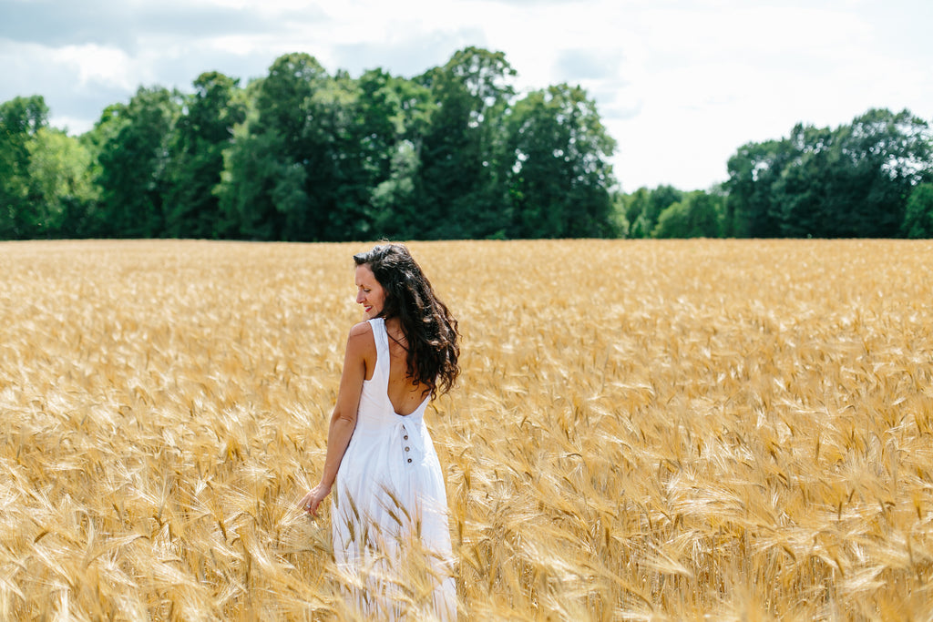 Andrea Naylor Artwork Wheat Fields Free People White Dress