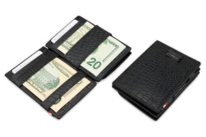 Cavare Magic Coin Wallet Card Sleeve Croco - Croco Black - 4