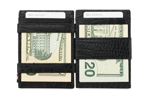 Cavare Magic Coin Wallet Card Sleeve Croco - Croco Black - 6