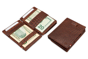 Cavare Magic Coin Wallet Card Sleeve Croco - Croco Brown - 4