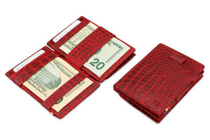 Cavare Magic Coin Wallet Card Sleeve Croco - Croco Burgundy - 4