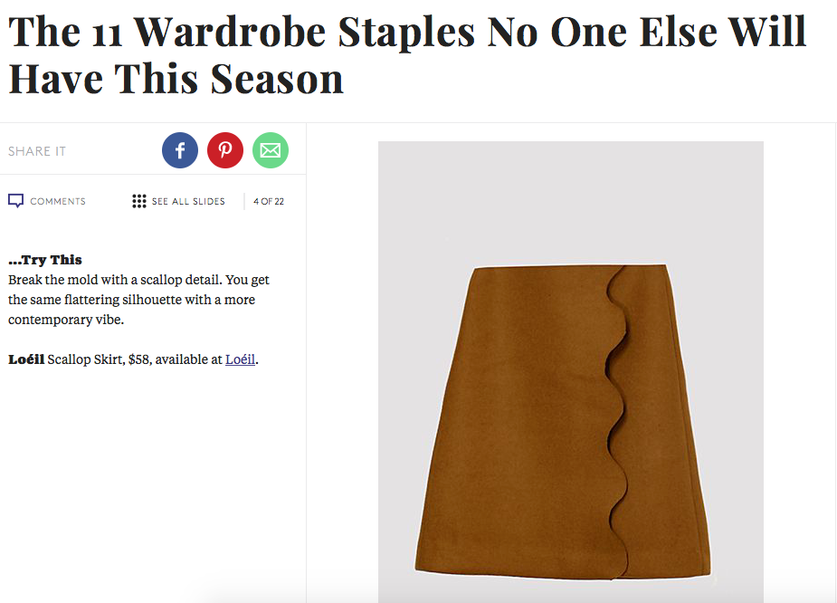 LOEIL scallop skirt features in refinery29 fashion