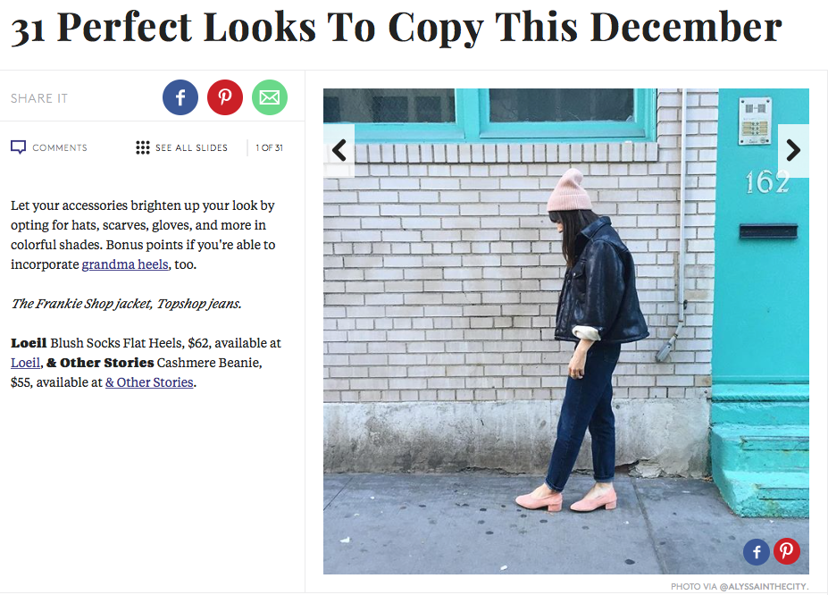 LOEIL blush socks flat heels featured in Refinery20, worn by market editor