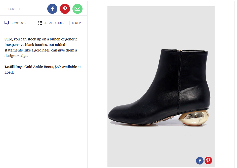 Loéil Raya Gold Ankle Boots features in Refinery29