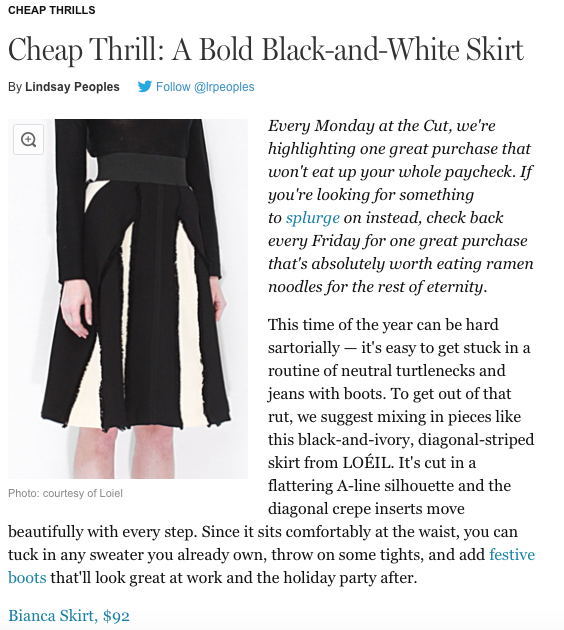 new york magazine the cut featured LOEIL black and white skirt