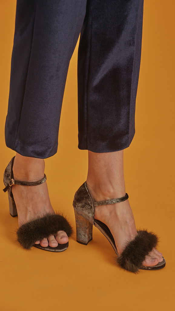Akari Sandal is ankle strap sandal in faux olive rabbit fur. Open toe. Covered heel in soft velvet.