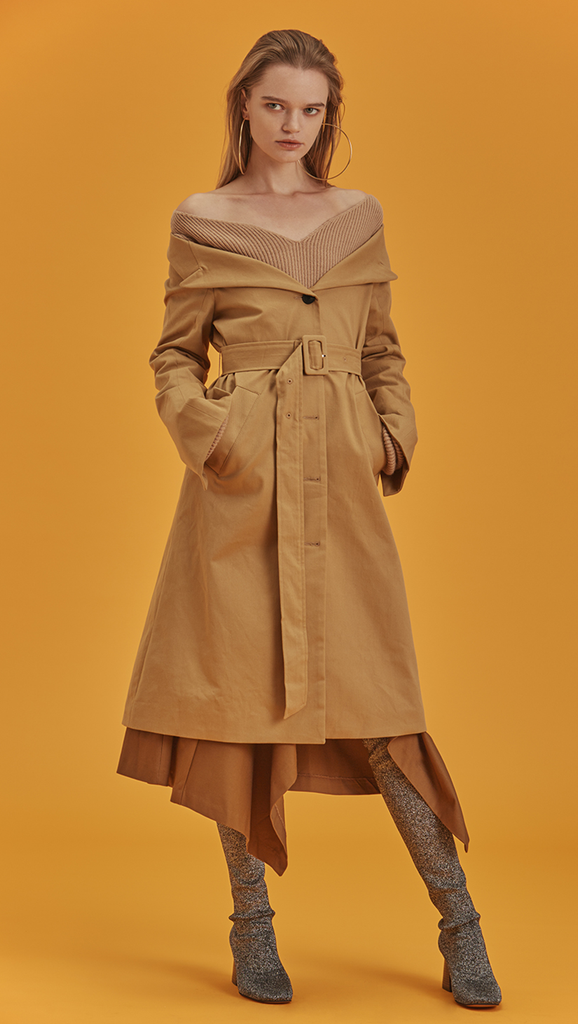 Archer Off Shoulder Trench Coat