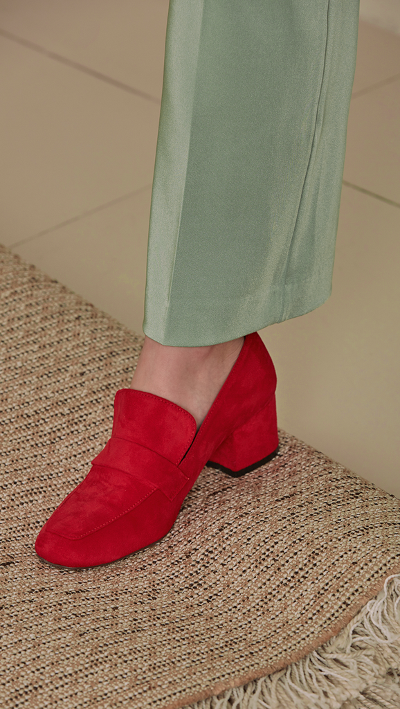 Bryon Roafer in Red. Square toe, synthetic suede uppers and sole, padded footbed, synthetic outsole and mid stacked heel. Slip on.