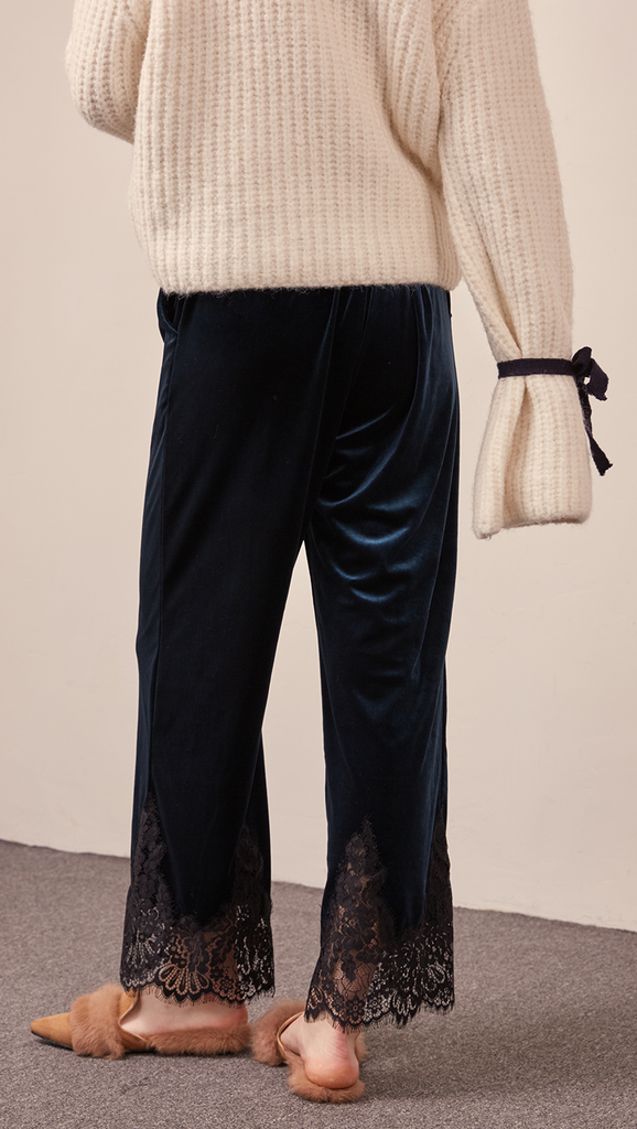 The Capri pant in velvet blue with lace hem, hook and zip fly front, gathered elasticated waistband.