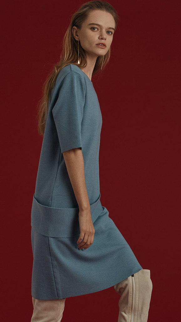 Dellow Dress in stretch super soft wool blend, with short sleeves. Deep airy blue. Pull on. Designed to be relaxed fit.