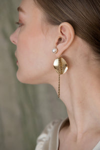 The Élio, a pair of an abstract eggshell-shaped design with gold chain.  Post back. Sold as a set.