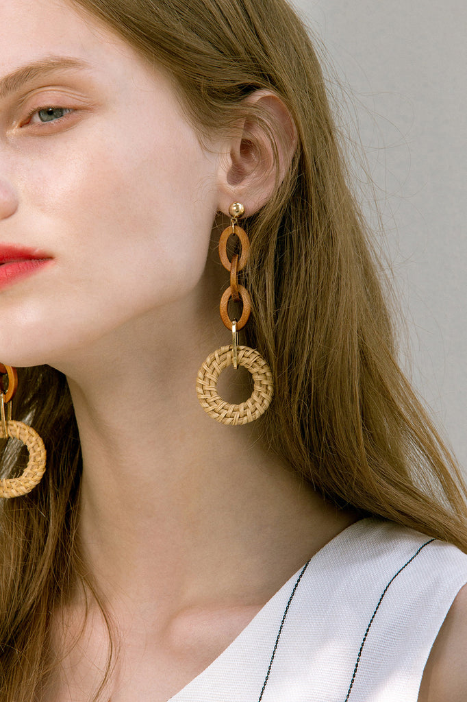 The Ellipse, a pair of bamboo loops earrings. Gold metal post back. Sold as a set.