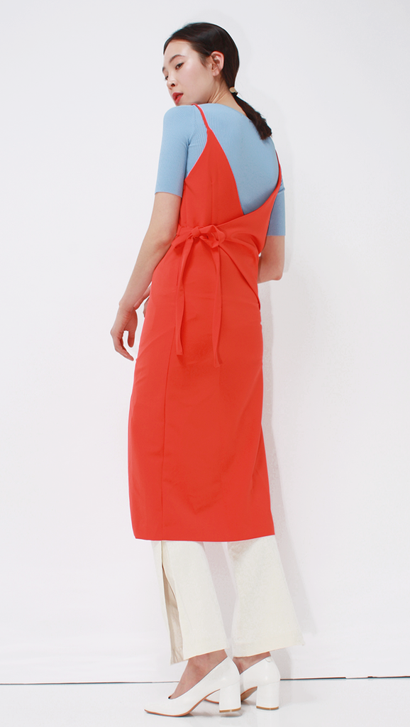 Felipe Dress in Bold Orange. Wrap-effect slip dress.