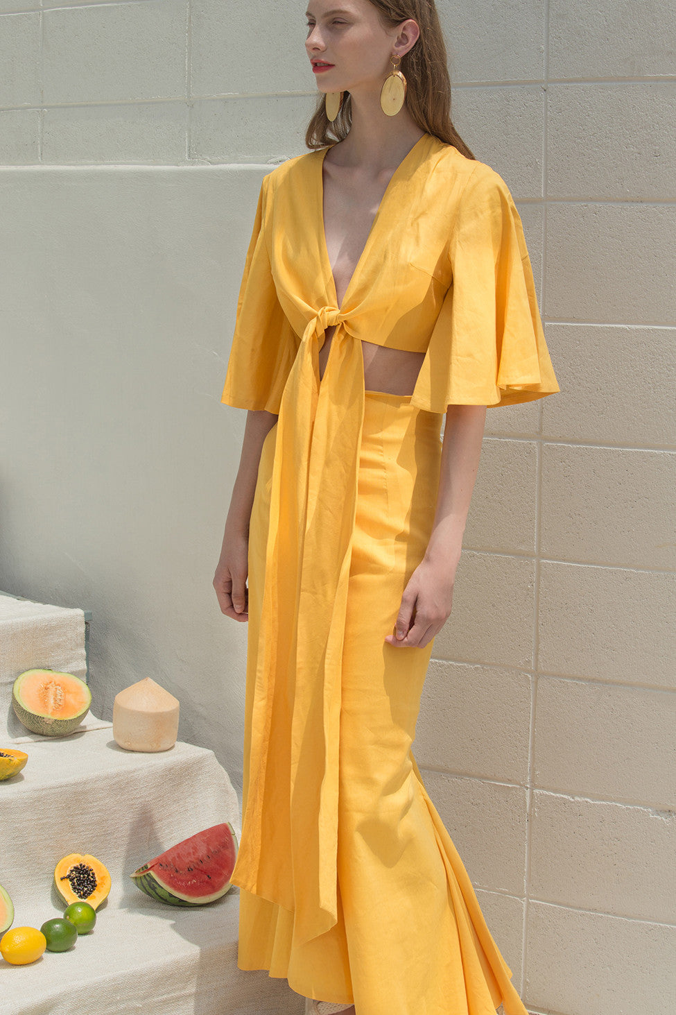 The Martyna Top in Yellow featuring gently flared short ruffle sleeves, dropped shoulder, V-neckline and non-detachable sash belt at front.
