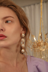 The Nica, a pair of pearl drop earring. Post back. Sold as a set.