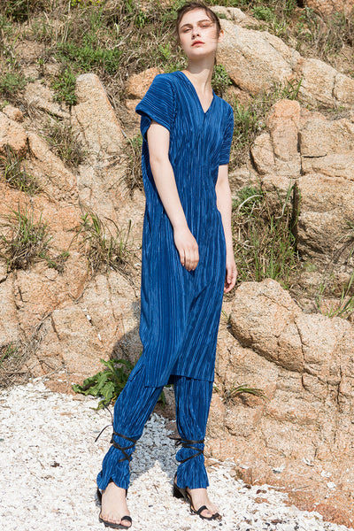 The Rossellini pleats pant in Blue featuring drawstring waistband. Straight fit.