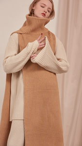 The Sancia, ribbed knit cowl turtleneck scarf in extra long in length. Can be worn in two ways.