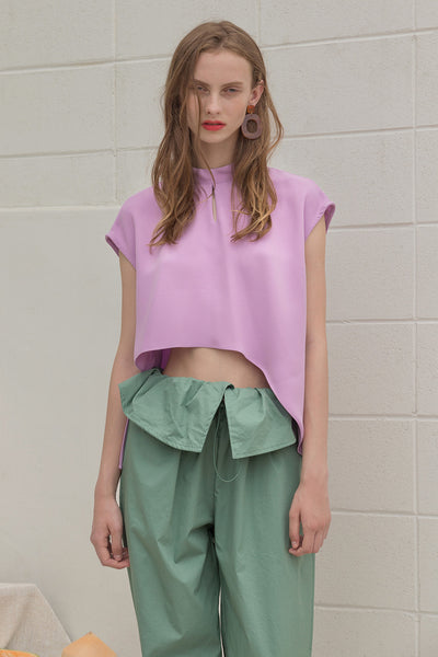 The Sofie Top in Lilac featuring cap short sleeves, asymmetric cropped hem, keyhole closure at back.
