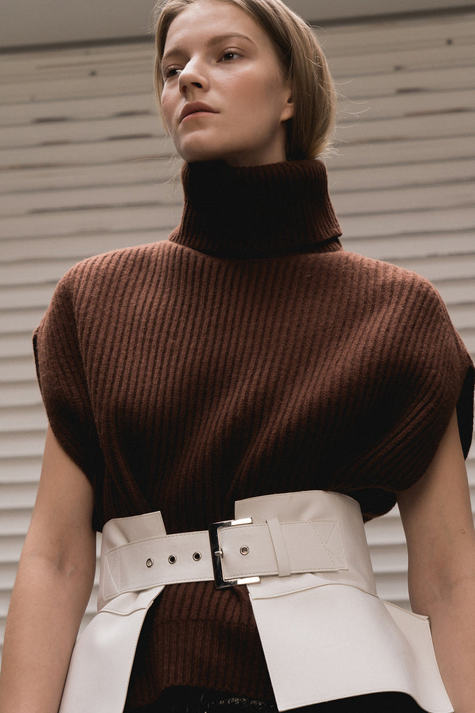 Oversized turtleneck in thick rib-knit wool blend. Short dolman cap cuffed sleeves.