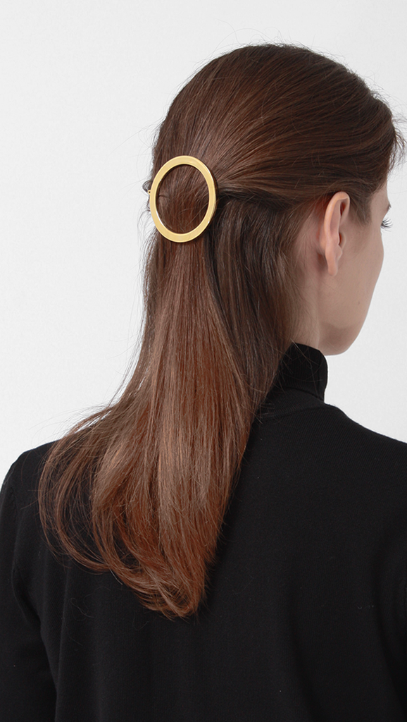 Celine inspired circle hair barrette in gold