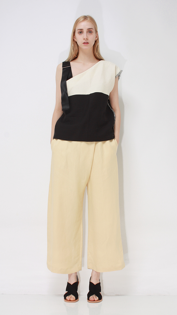 Francis Top, a lightweight one off-the-shoulder top in classic Cream/Black