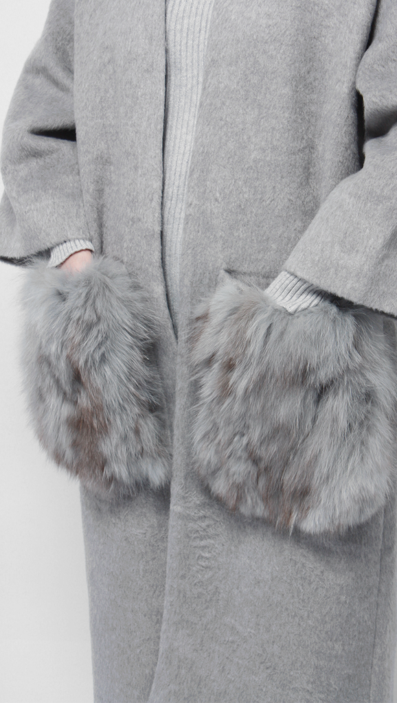 real fox fur enlarged patch pocket oversized open style grey alpaca coat