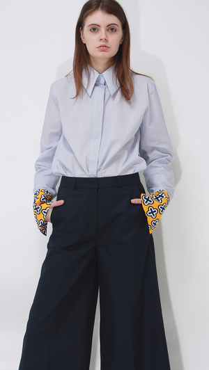 Kei cuff shirt in Blue Pinstripes.