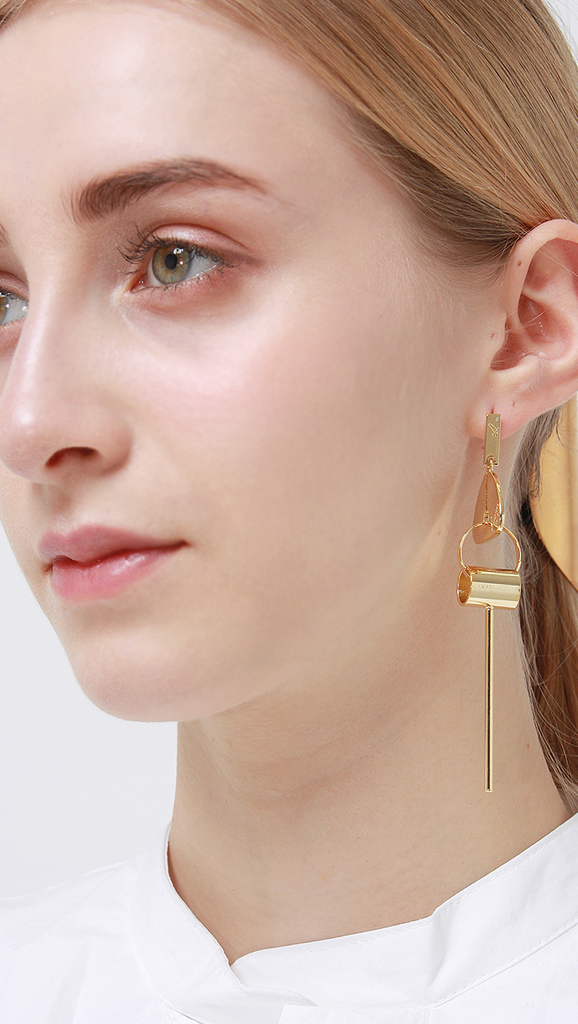 Luz Earring, a mismatched earring set in Gold