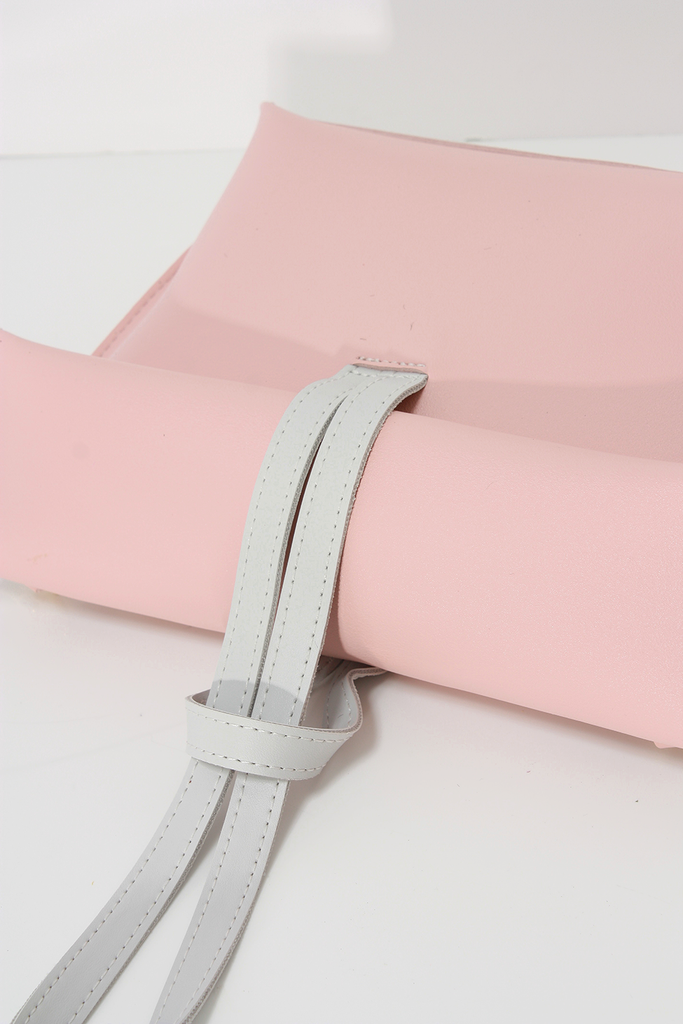 Melgar Cluth, a lightweight smooth pu leather with minimal styling in Pink.