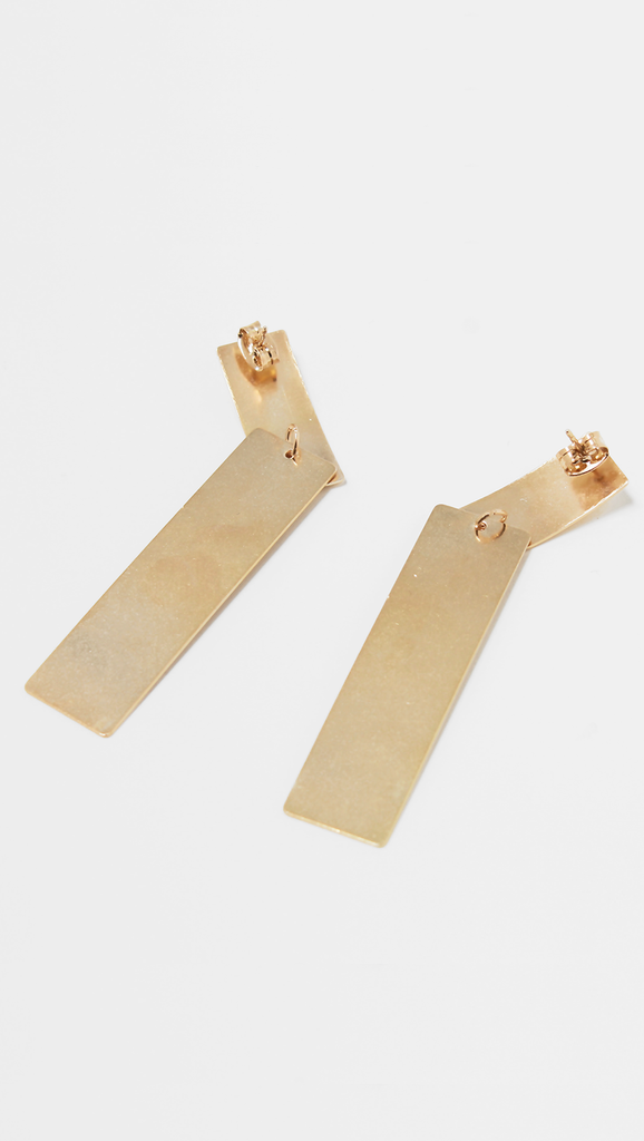 Modern Arc Earrings in Gold.