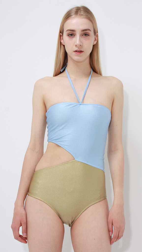 Morgan bathing suit with colorful color block in Sky Blue/Khaki