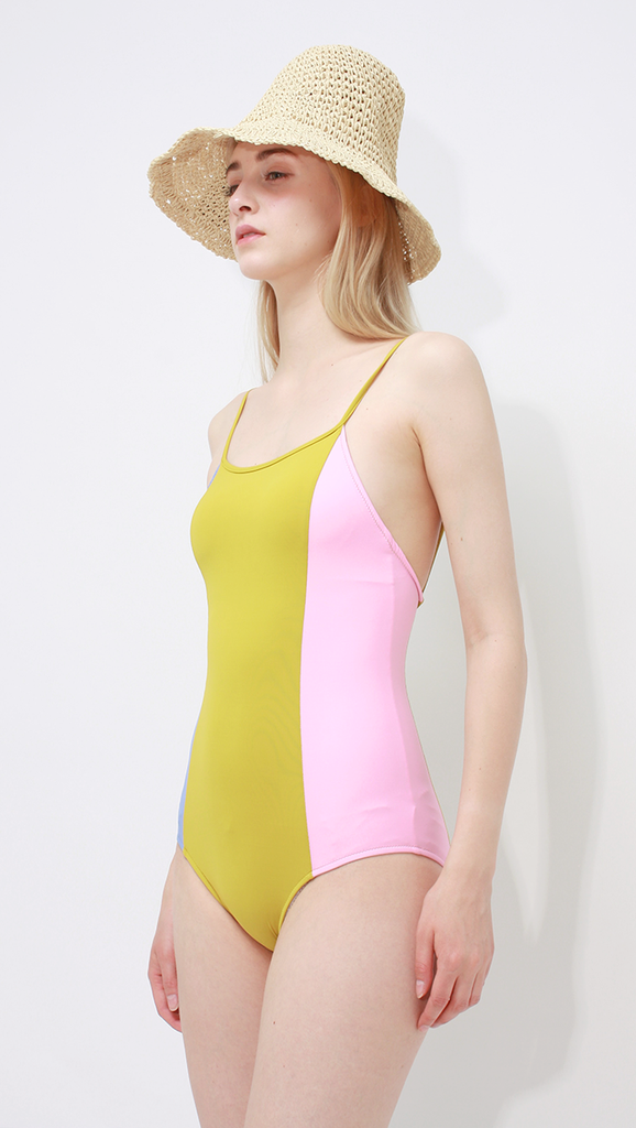 Nu Pastel one piece bathing suit with colorful in three color-block