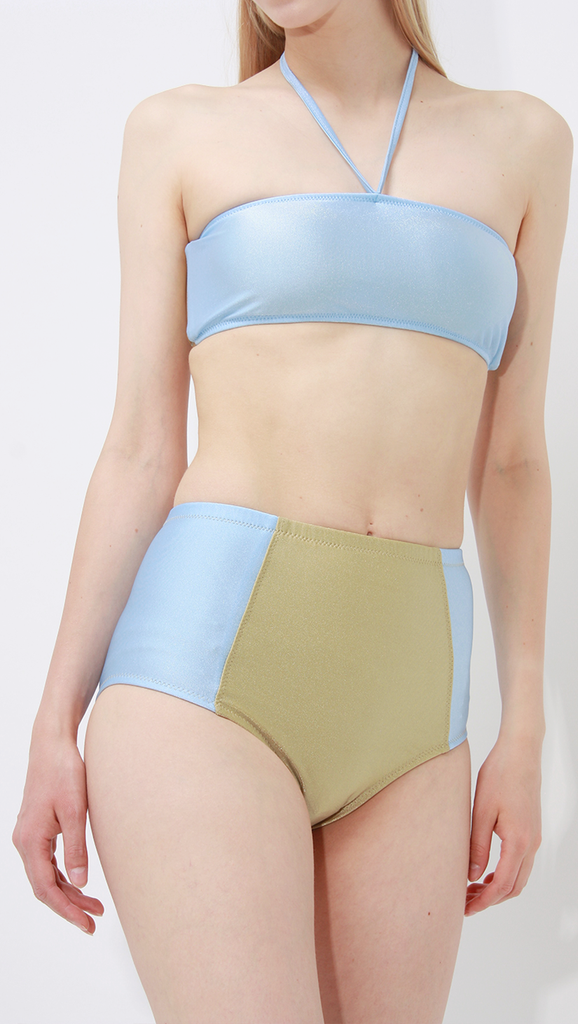 Punta Bikini with colorful two tone color block in Sky Blue/Khaki