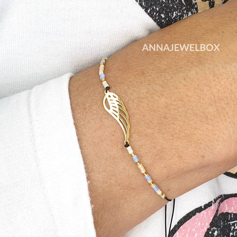Gold Guardian Angel Wing Charm Beaded Bracelet - AnnaJewelBox