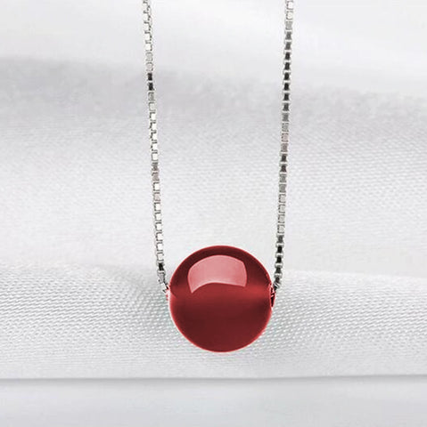 Red Agate 925 Sterling Silver Pendant Necklace - AnnaJewelBox